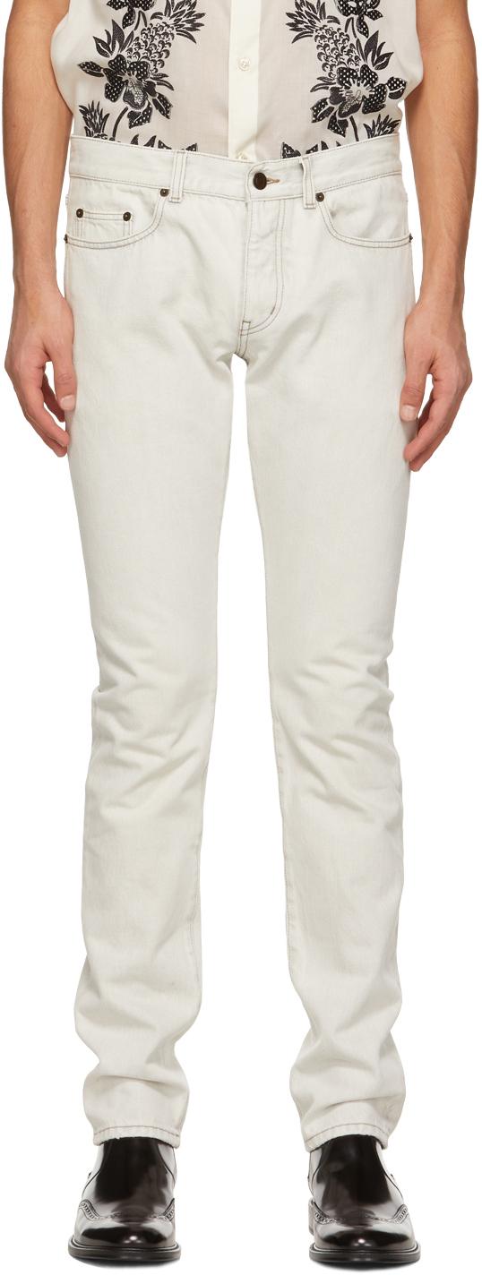 Saint Laurent 灰白色 Straight-Cut 牛仔裤