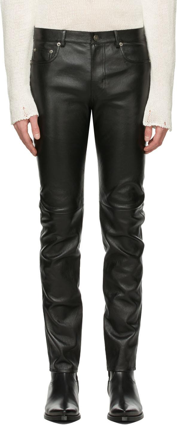 Saint Laurent 黑色小羊皮紧身长裤