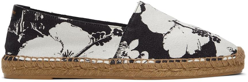 White & Black Hibiscus Print Espadrilles