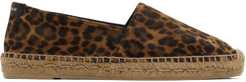 Brown Suede Leopard Print Espadrilles