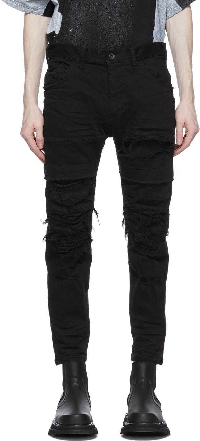 Black Denim Distressed Stretch Jeans