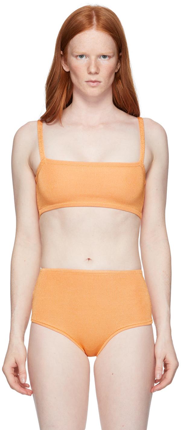 Orange Knit Bandeau Bra
