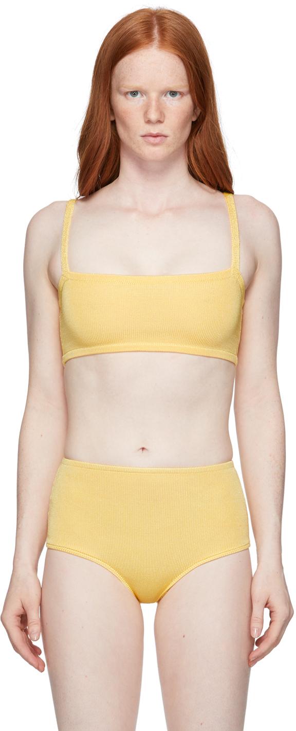 Yellow Knit Bandeau Bra