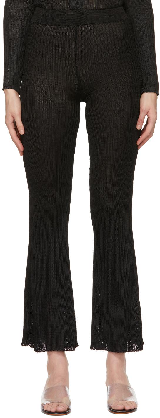 Black Ribbed Lounge Pants