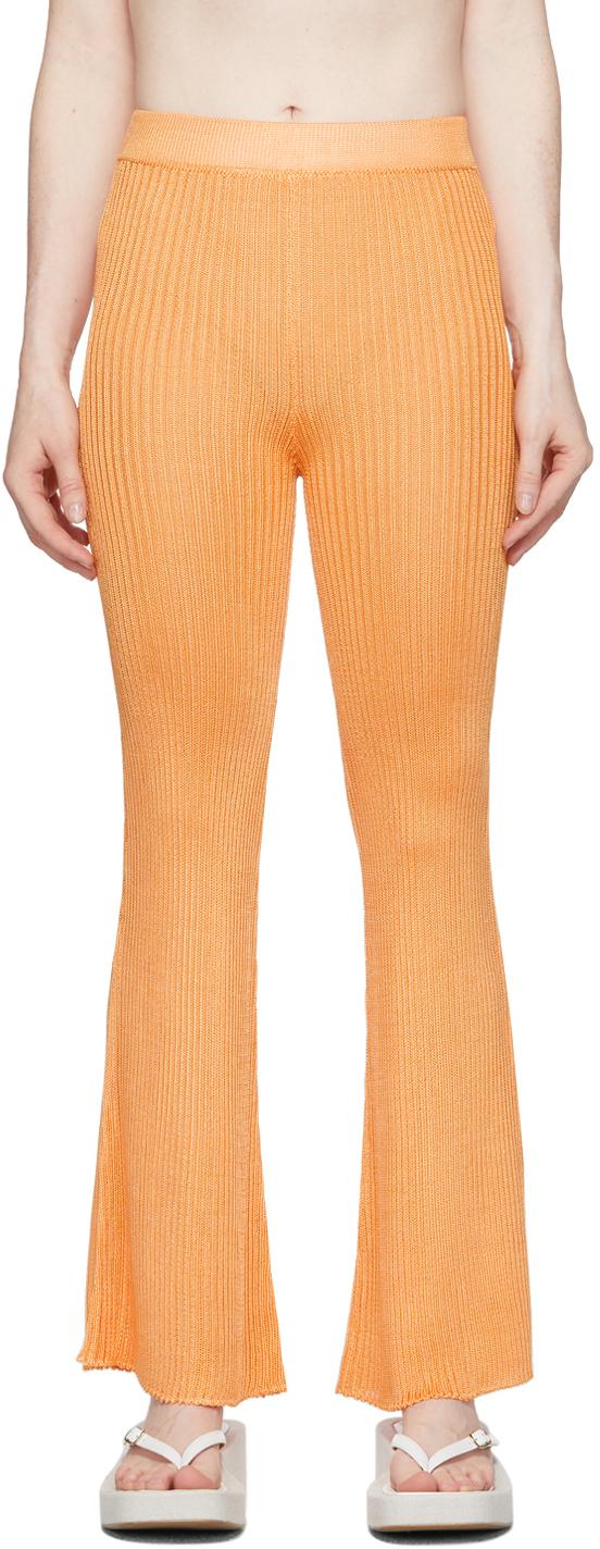 Orange Ribbed Lounge Pants