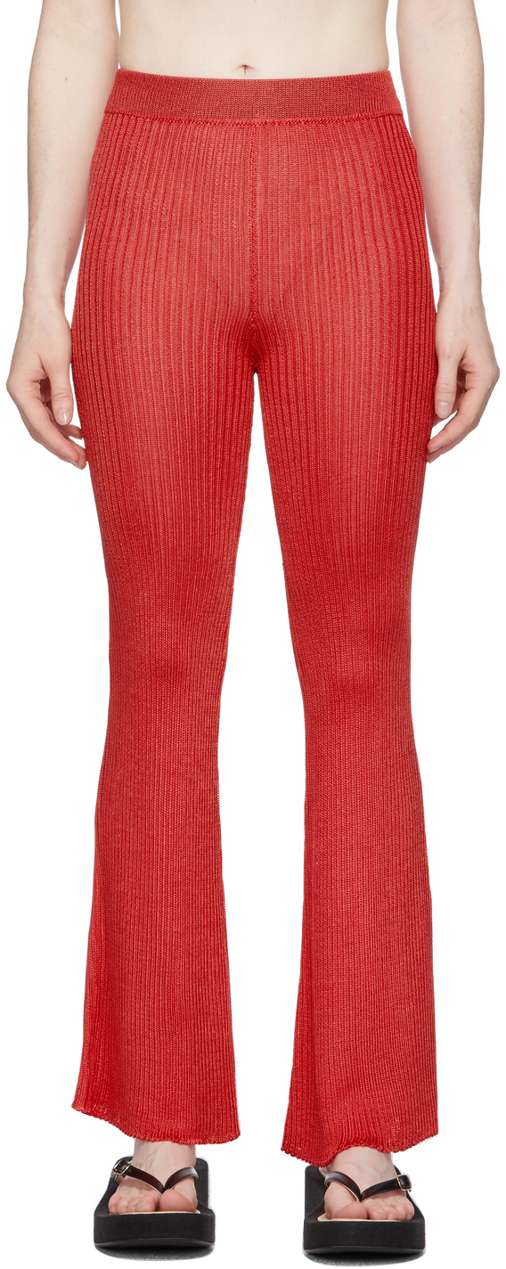 Red Ribbed Lounge Pants