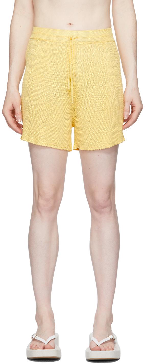 Yellow Ribbed Shorts