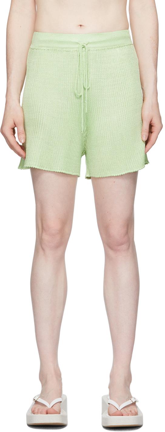 Green Ribbed Shorts