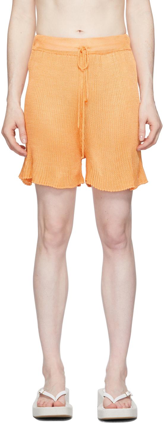 Orange Ribbed Shorts