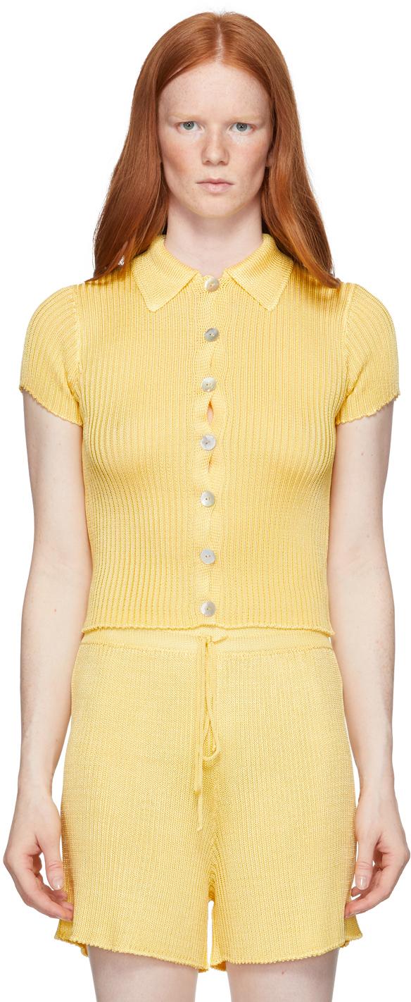 Yellow Ribbed Short Sleeve Shirt