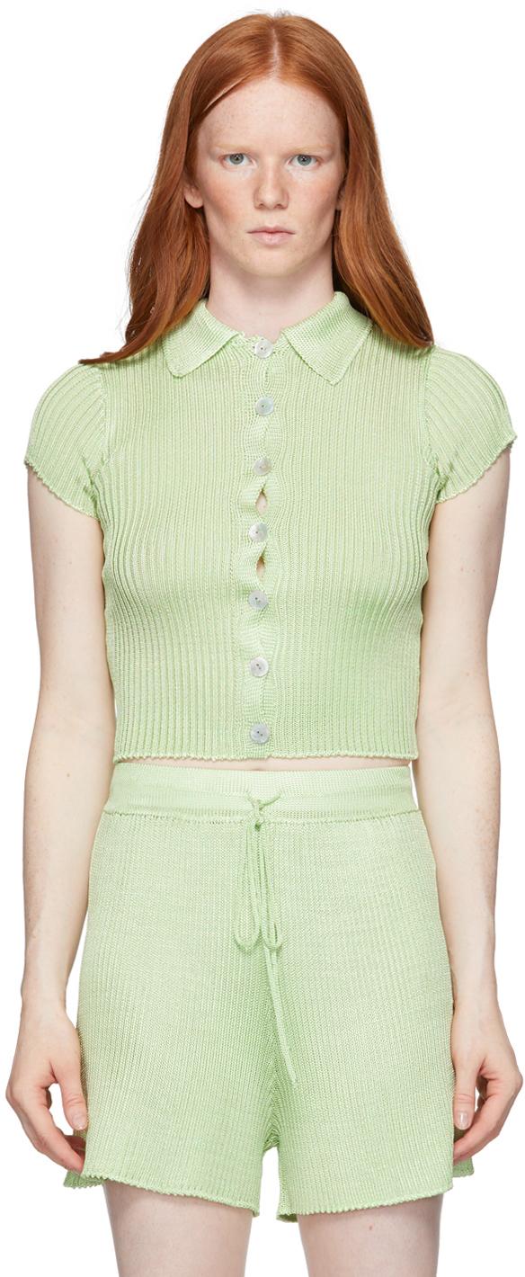 Green Ribbed Short Sleeve Shirt