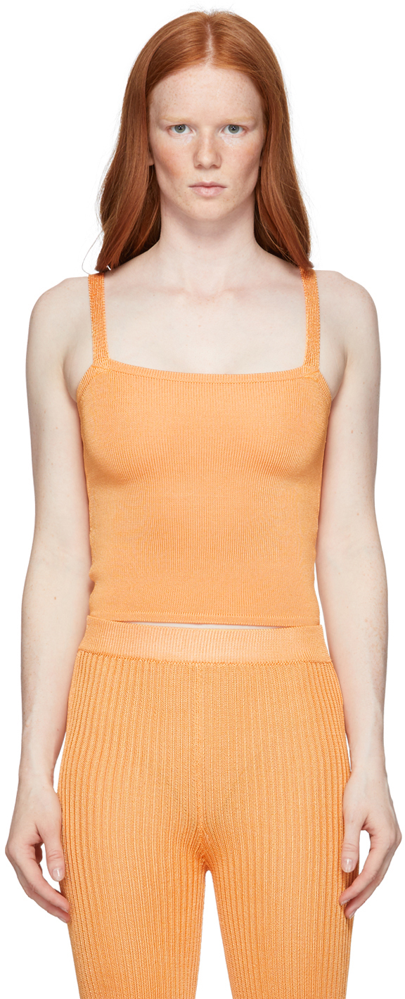 Orange Knit Tank Top