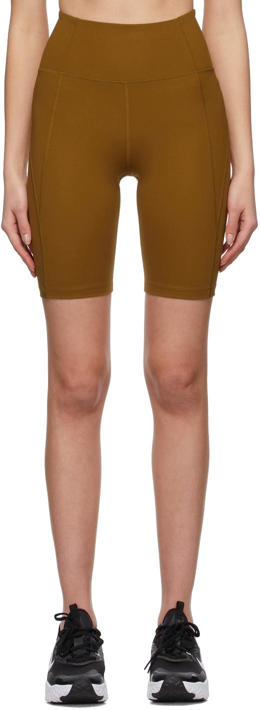 Tan High-Rise Bike Shorts
