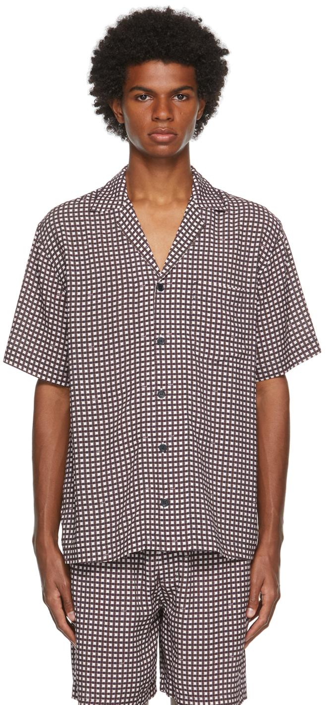 Burgundy & White Check Pool Short Sleeve Shirt