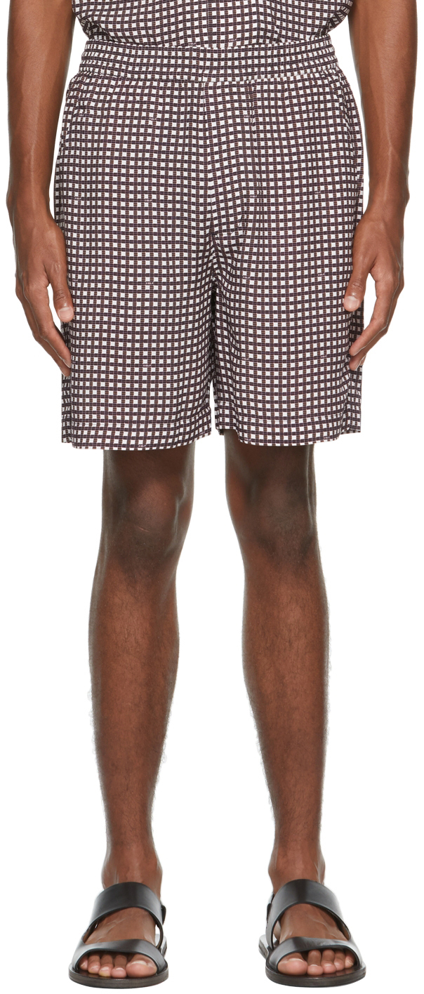 Burgundy & White Check Pool Shorts