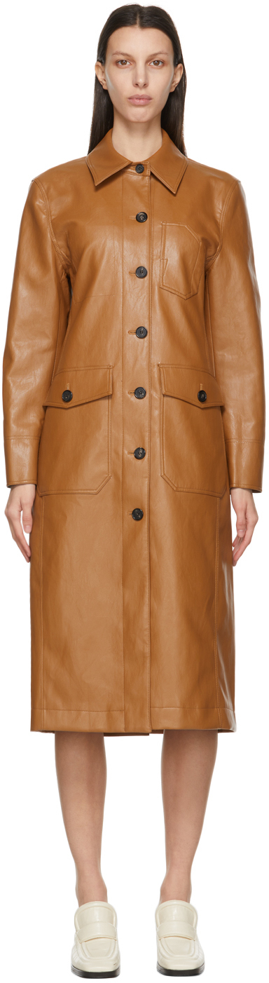 Brown Faux-Leather Patchwork Coat