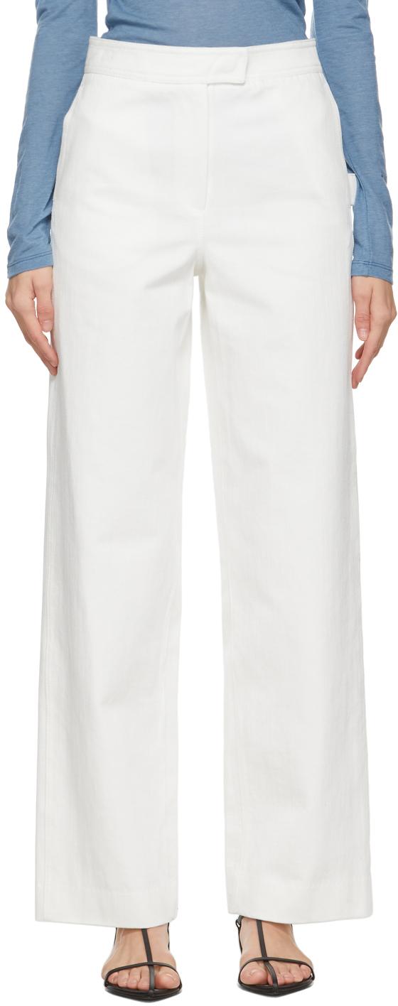 White Stitch-Point Jeans