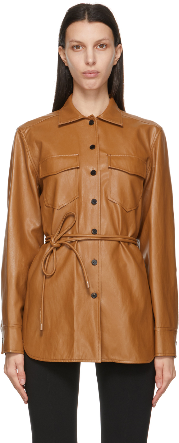 Brown Faux-Leather Oversized Belted Shirt