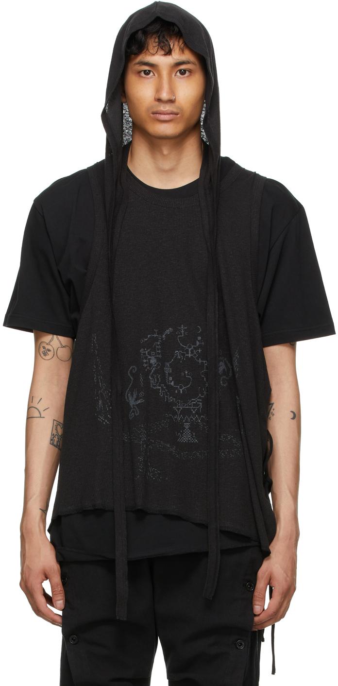 Black Double Layer Hood T-Shirt