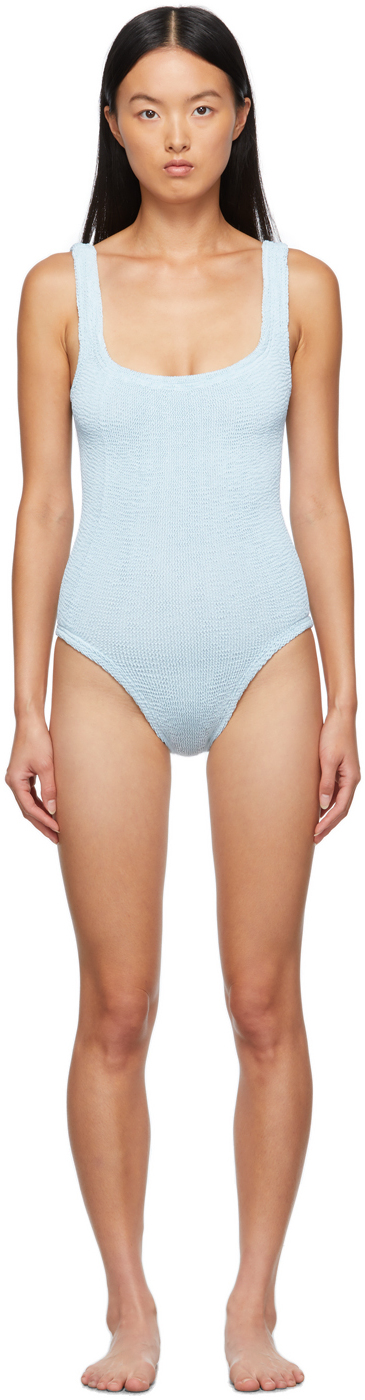 Blue Square Neck One-Piece Swimsuit