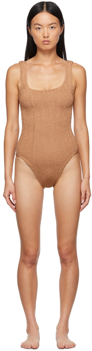 Brown Square Neck One-Piece Swimsuit