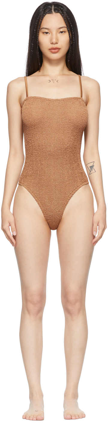Tan Square Maria One-Piece Swimsuit