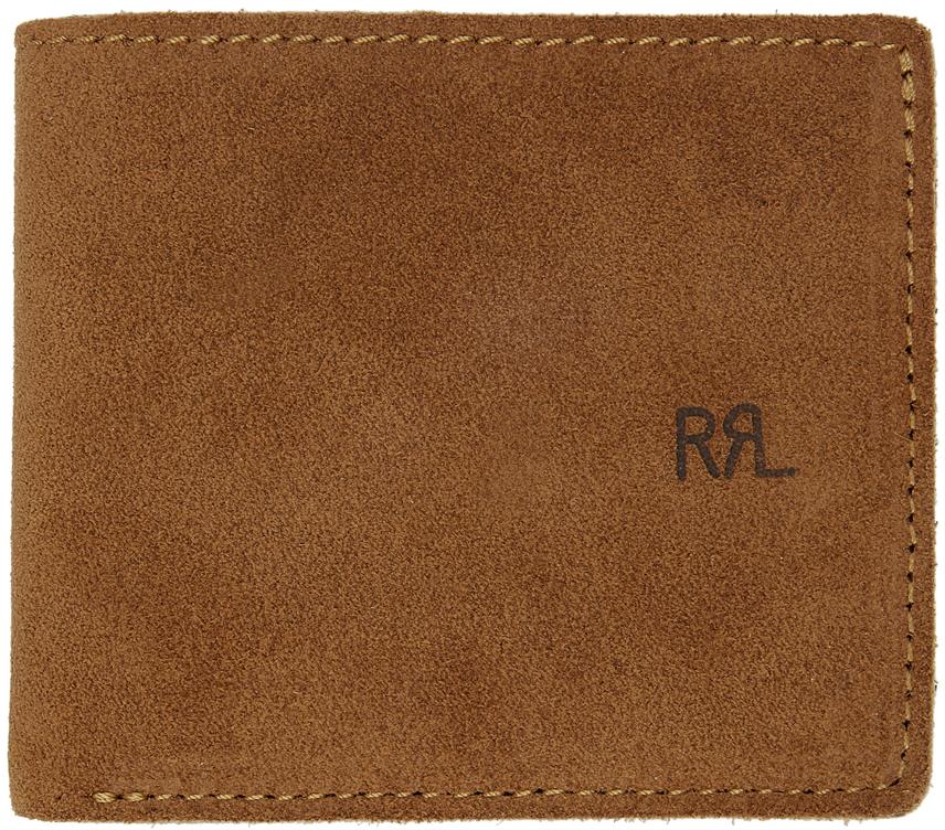 RRL 黄褐色 Roughout 绒面革双折钱包