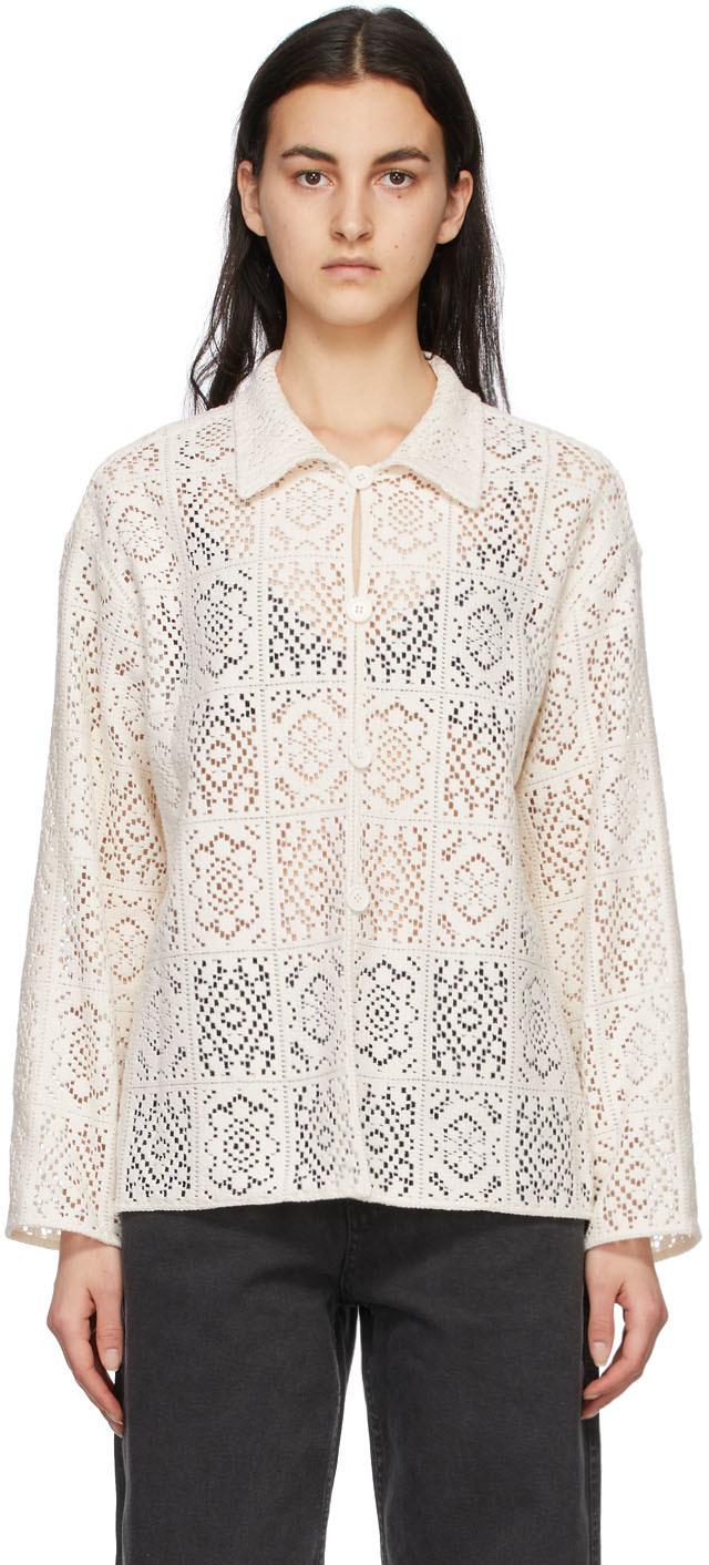 Off-White Flower Crochet Shirt