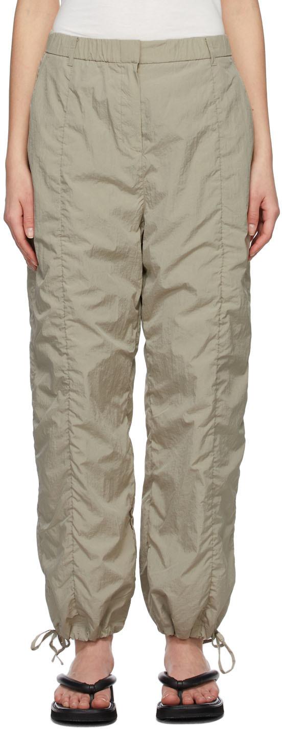 Khaki Shirred Lounge Pants