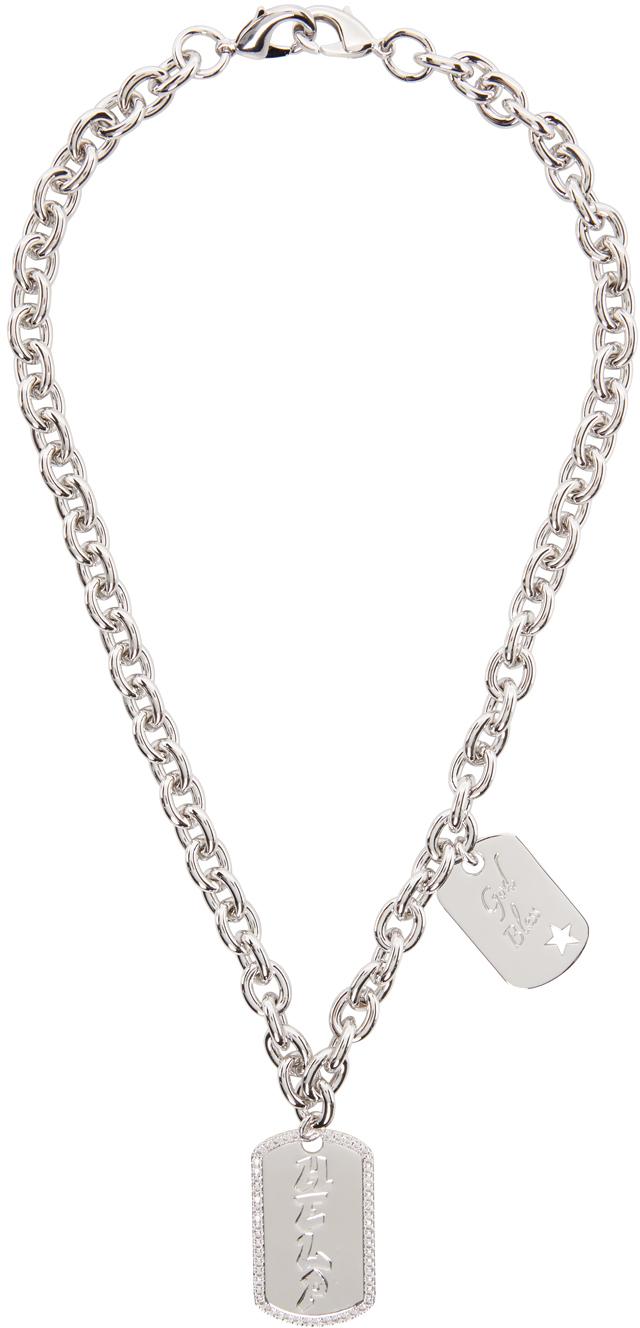 SSENSE Exclusive Silver Jiwinaia Edition 'Help' & 'God' Necklace