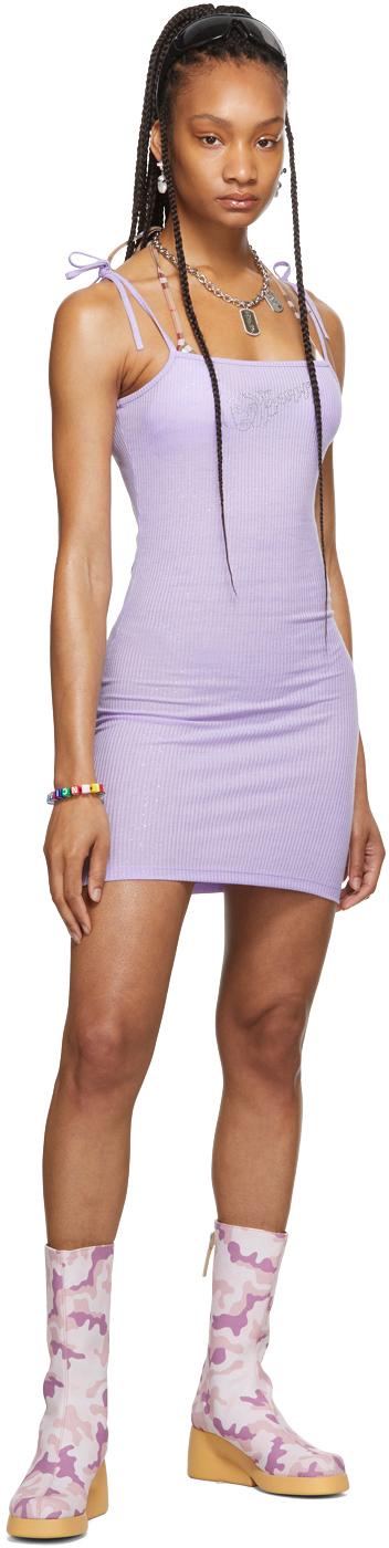 SSENSE Exclusive Purple Rib Mini Dress