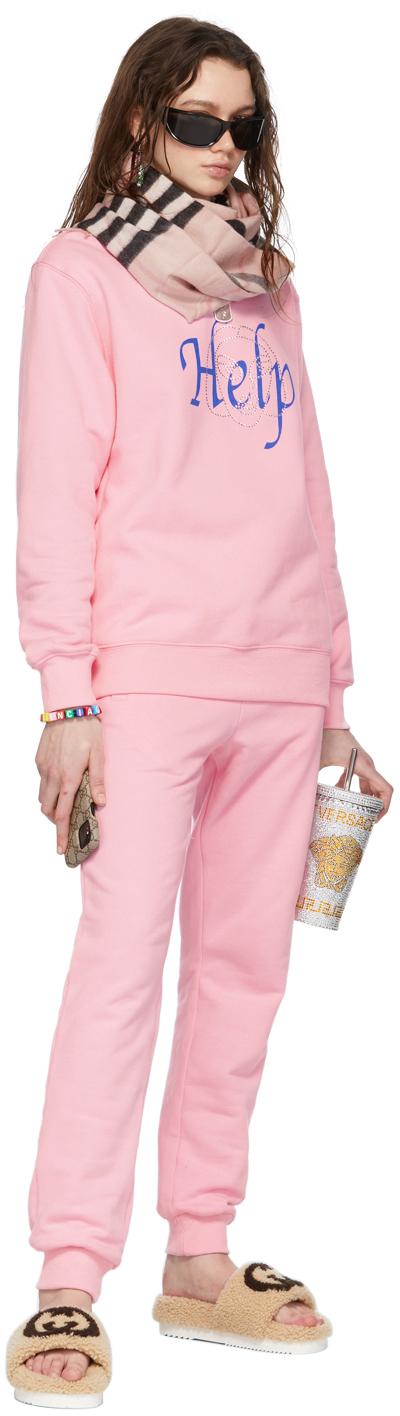 SSENSE Exclusive Pink 'Help' Sweatshirt & Lounge Pant Set
