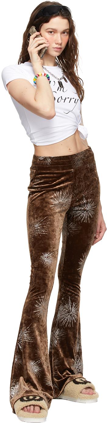 SSENSE Exclusive Brown Flare Devore Lounge Pants