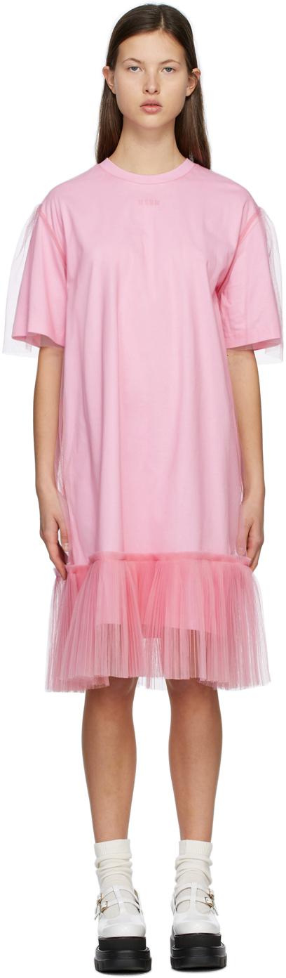 Pink Tulle Overlay Dress