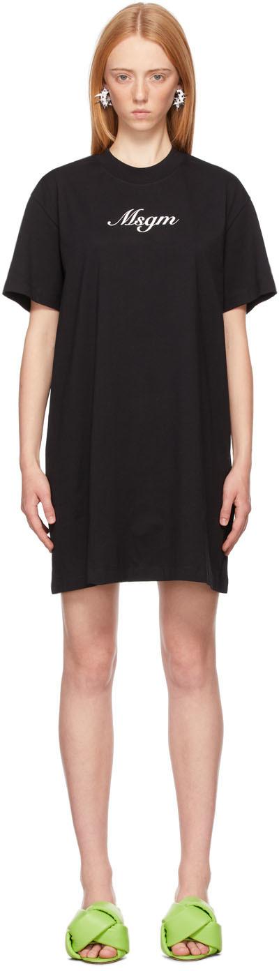 Black Italics Logo Dress