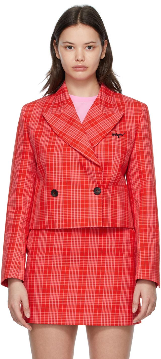 Red & Pink Cropped Plaid Blazer