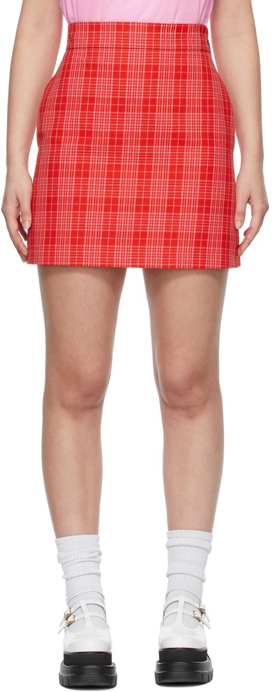 Red & Pink Canvas Tartan Print Miniskirt