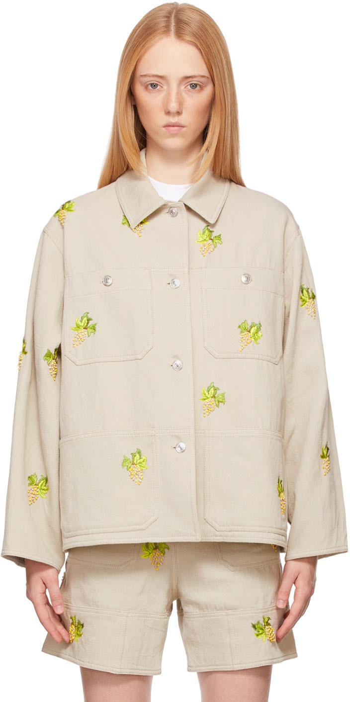 Beige Embroidered Shirt Jacket
