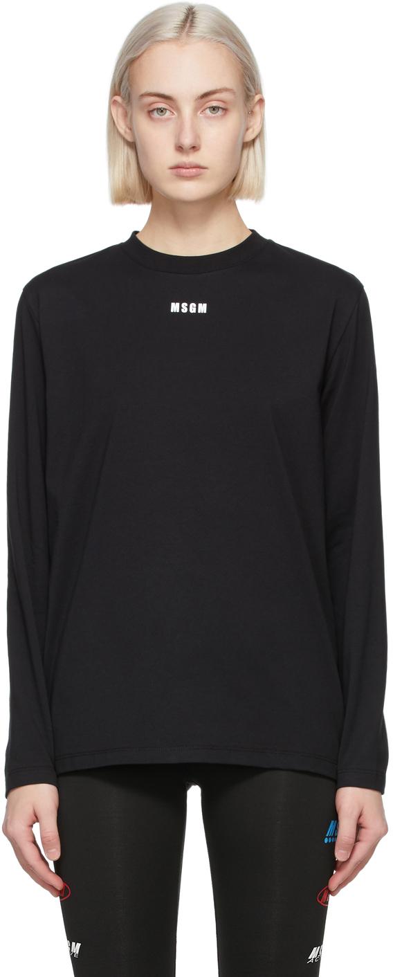 MSGM 黑色 Micro Logo 长袖 T 恤