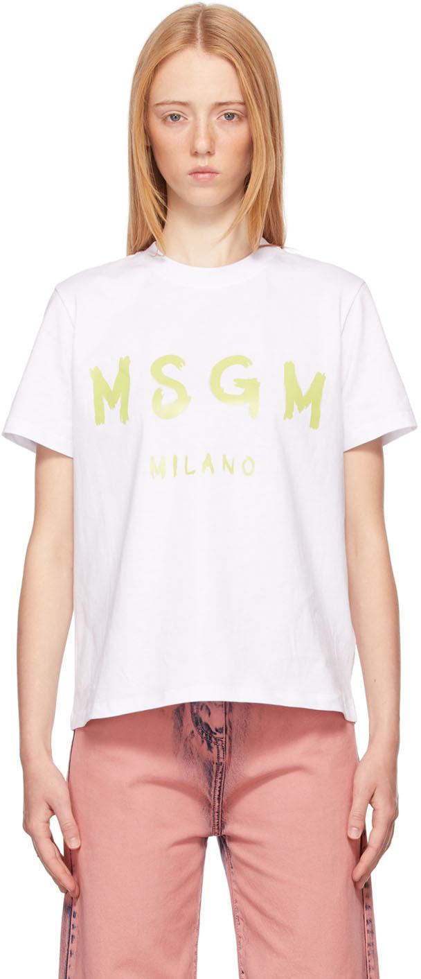White Paint Brushed Logo T-Shirt
