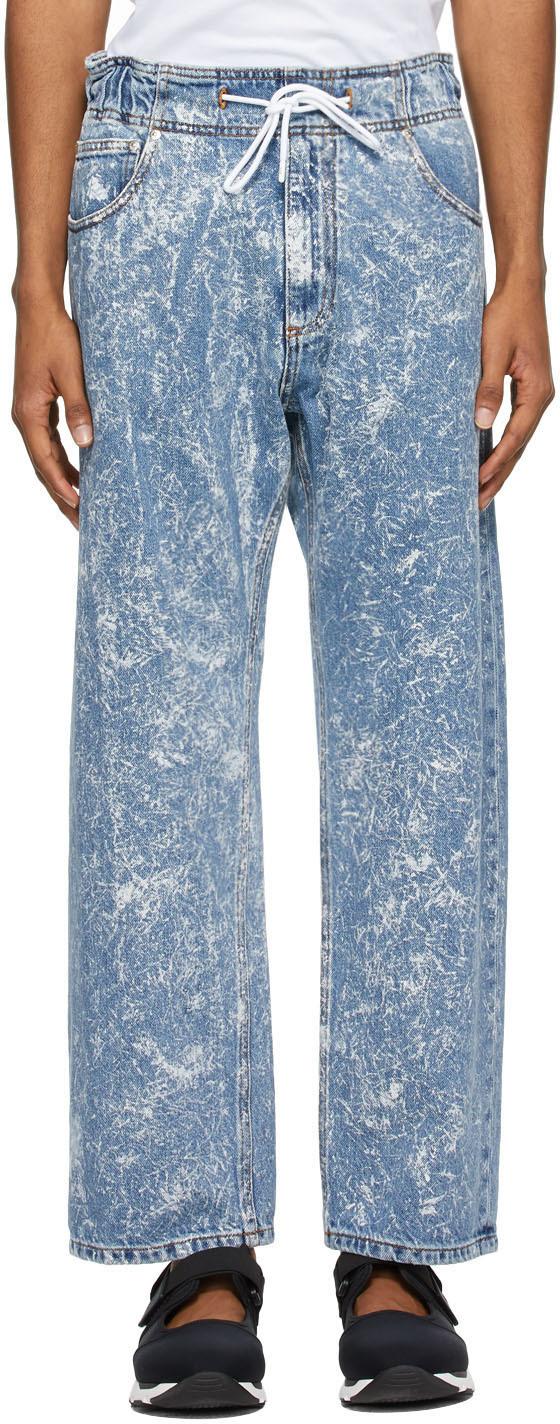 MSGM 蓝色 Paint Splatter 抽绳牛仔裤
