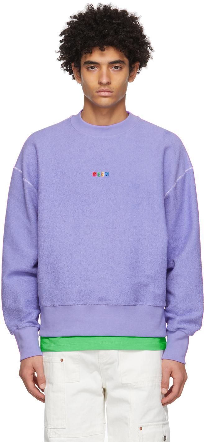 Purple Terry Micro Logo Sweatshirt