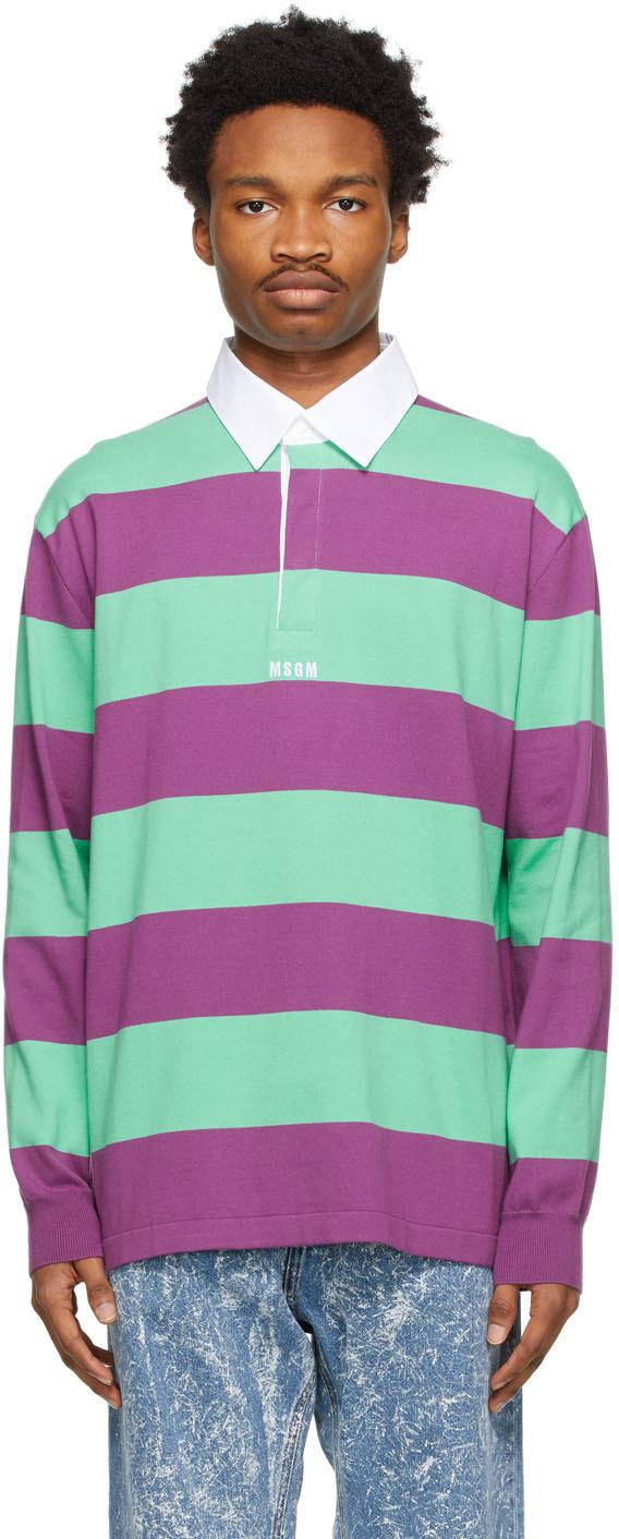 Purple & Green Striped Polo