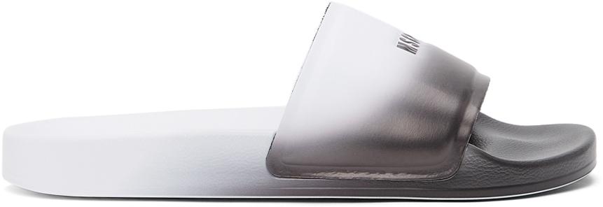 White Micro-Logo Pool Slides