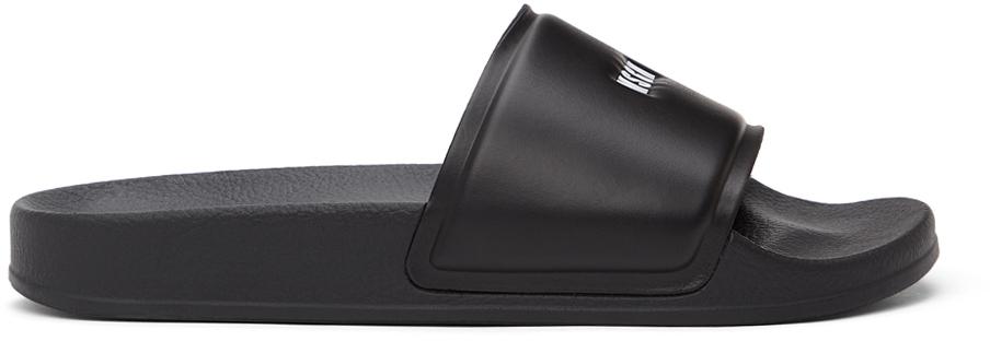 Black Micro-Logo Pool Slides