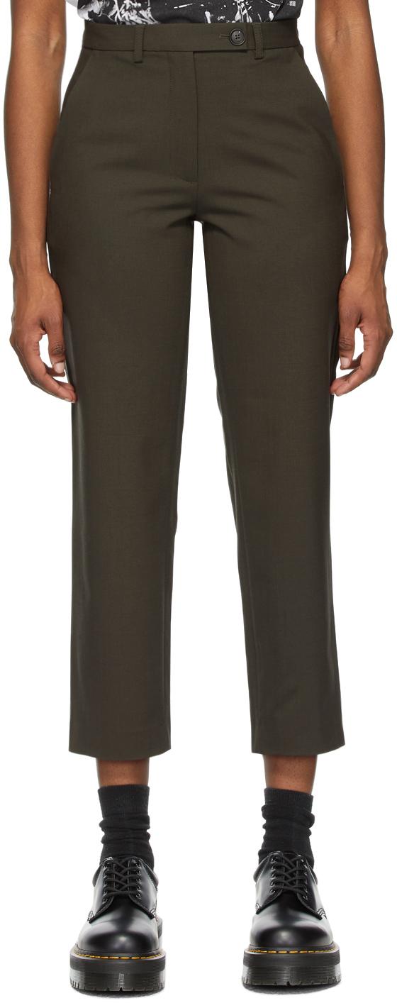 6397 Khaki Gabardine Relaxed Trousers 211446F087000