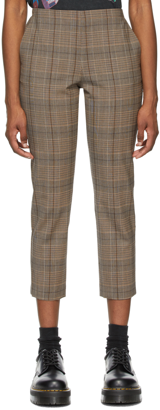 6397 Brown Check Pull On Trousers 211446F087002
