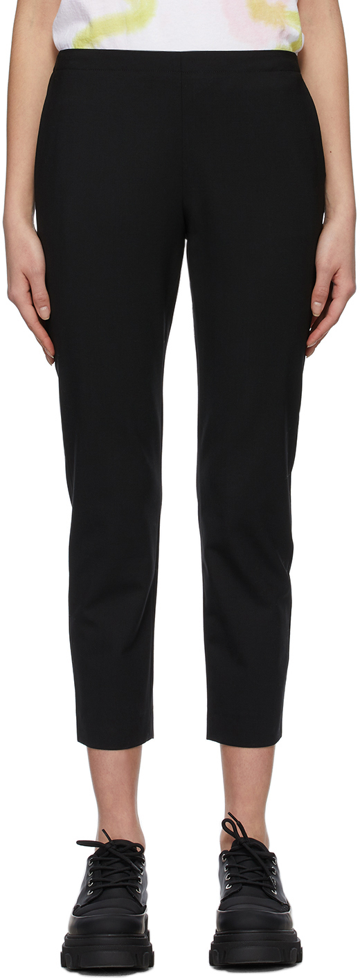 6397 Black Wool Pull On Trousers 211446F087004