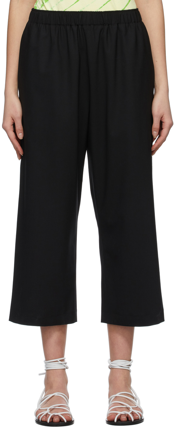 6397 Black Wide Pull On Trousers 211446F087005