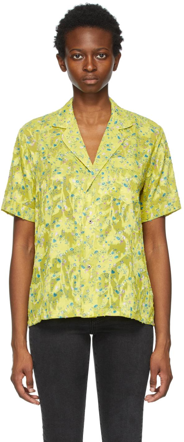 6397 Yellow Floral PJ Short Sleeve Shirt 211446F109001